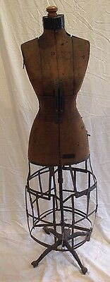 Victorian Antique 1916 HALL BORCHERT BUSTLE SKIRT DRESS FORM Metal Cage