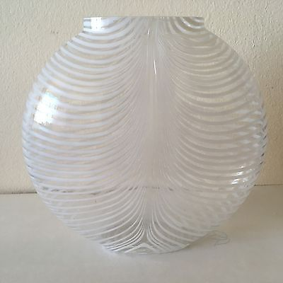 KOSTA BODA Vase 48472 Signed Piece Zebra Stripe Swedish Art Glass Bertil Vallien