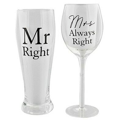 Amore Wine & Pint Glass Set Mr Right Mrs Always Right Wedding Anniversary Gift