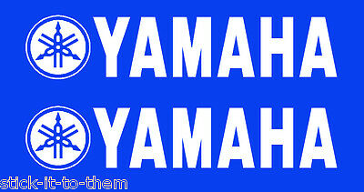 Yamaha - Pair Of White Yamaha Vinyl Decals Stickers - X2 - In White As Picture