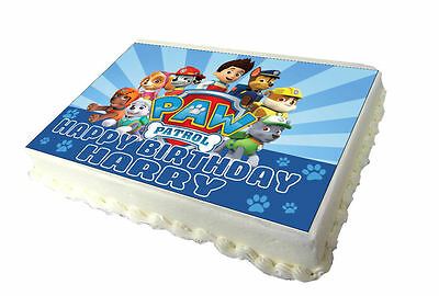 Paw Patrol A4 Edible Real Icing Cake Topper
