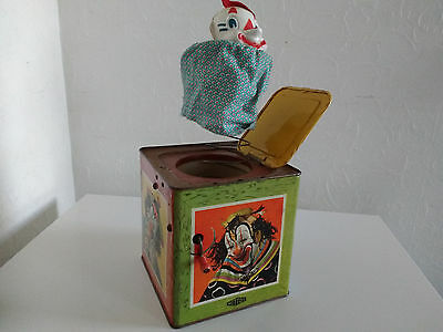 Vintage Tin Plate Jack-In-A-Box Toy by Mettoy, 1945-50