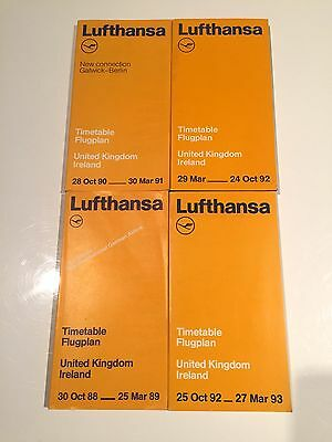 Lufthansa Timetables 1988/1993 Flugplan With Seat Maps Lh Germany