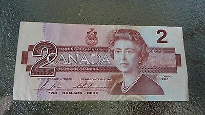1986 Canadian $2 Dollar Bank Note Paper Bill EGS9856049 Circulated Canada