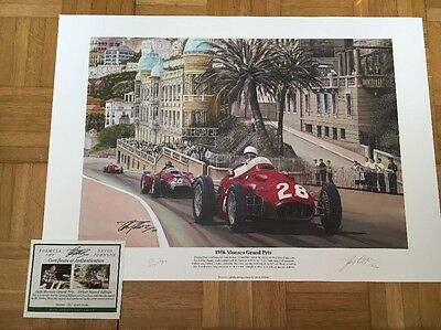 Stirling Moss Hand Signed 1956 Monaco Grand Prix Limited Edition F1 Print