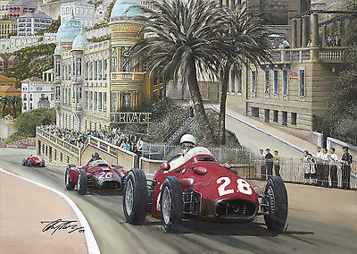 Stirling Moss 1956 Monaco Grand Prix Hand Signed Limited Edition F1 Print