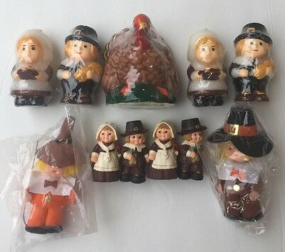 Vintage Thanksgiving Collection Of Candles ,Turkey And Figurines NEW!
