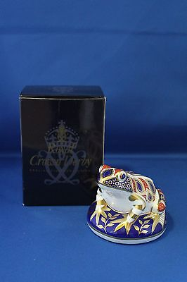 Boxed Royal Crown Derby Paperweight Imari Frog Silver Stopper Date Mark 1998