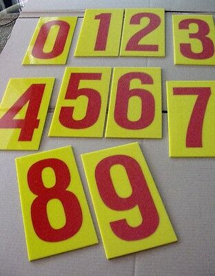 """Vtg Lot-10 Number Signs 10"""" Marque Merchandise Advertising Home Office Decor"""