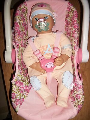 Interactive Baby Annabell doll and carry seat VGC