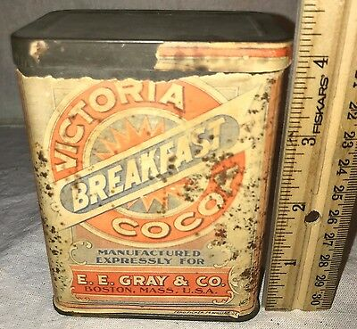 Antique Victoria Breakfast Cocoa Ee Gray Boston Ma Tin Vintage Chocolate Can Old