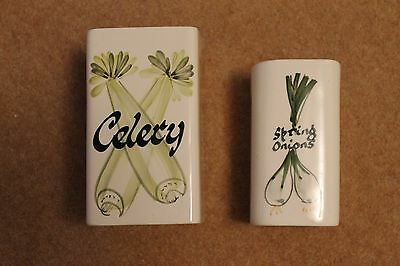 Vintage Toni Raymond Pottery Spring Onions & Celery Square Shaped Pot /Holder