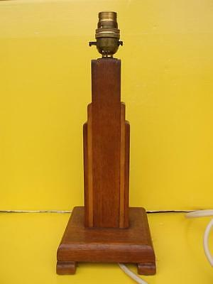 71 / EYE CATCHING 1930's ART DECO WOODEN TABLE LAMP