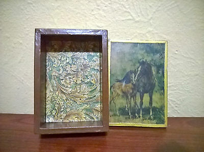 Vintage Wood Horse and Pony Decoupage Trinket Box Handmade