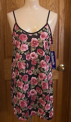 Womens  Black Floral Semi-Sheer Lingerie Nightgown Nightie Triangle  Size M