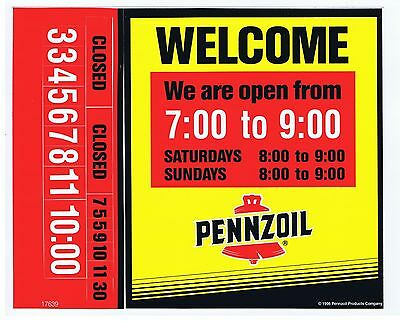 """Pennzoil """"welcome"""" Decal (Sticker) Showing Hours Open"""