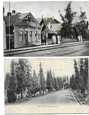BRAMFONTEIN Bloemfontain Lot 2 Early South Africa Postcard Cemetery Queens Hotel