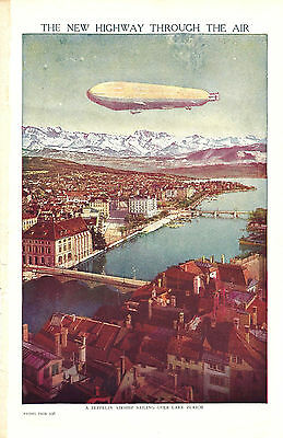 Vintage Print Of A Zeppelin Airship Sailing Over Lake Zurich