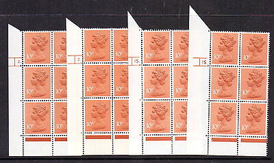 1979 10p ORANGE-BROWN ( FCP ) CYL 2 & CYL 15 DOT & NO DOT MNH BLOCKS OF 6