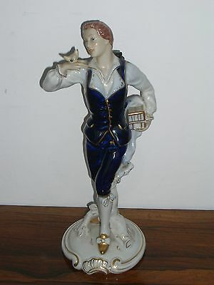 Royal Dux Porcelain Figure Gentleman With Bird Blue And White