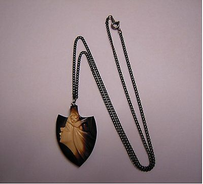 hand crafted carved Ethnic Japanese Wooden Pendant Necklace - Unused Vintage