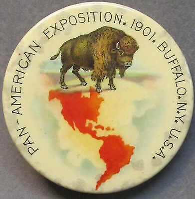 """large 1901 PAN AMERICAN EXPOSITION Buffalo NY 2 1/8"""" pinback button BISON"""