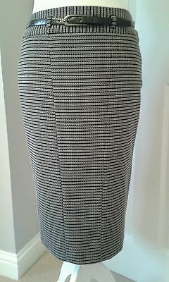 Ladies New Next Black & White pencil skirt with belt size 10