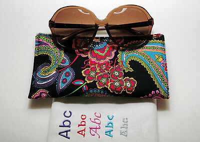 Personalized embroidered Vera Bradley Padded Soft Sunglasses Case Handmade