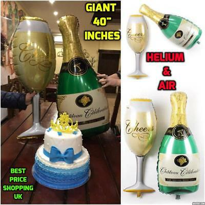 "40"" Champagne Glass and Bottle Foil Balloon Large Helium Ballons Birthday Party"