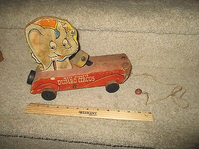 Vintage Fisher Price Pull Toy Wood Walt Disney's Dumbo Circus Elephant 1941 738