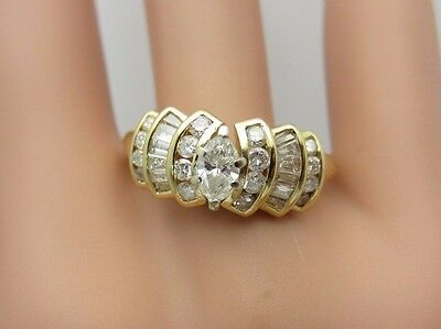 14K Yellow Gold Marquise Diamond Engagement Ring 1.00 CT