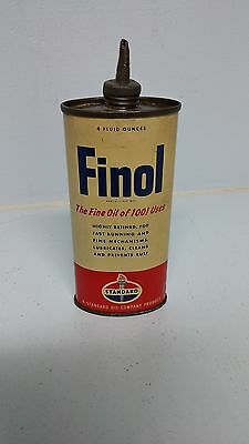 Vintage FINOL Standard Oil Lead Spout Handy Oiler Advertising Tin Can