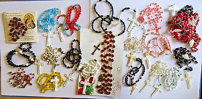 Large lot of plastic rosaries and rosary parts crucifixes vintage & modern