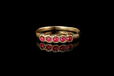 Antique Victorian 10K Gold Ruby Girl Band Ring (010317022)