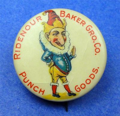 Old Cello Pinback RIDENOUR BAKER GRO. CO. PUNCH Pictorial 31mm Pin ME1545