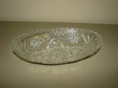 """Anchor Hocking EAPC 9"""" Clear Oval Serving Dish/Bowl Star of David"""