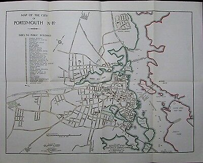 Portsmouth New Hampshire city plan 1933 scarce large detailed map 1925 Kimball