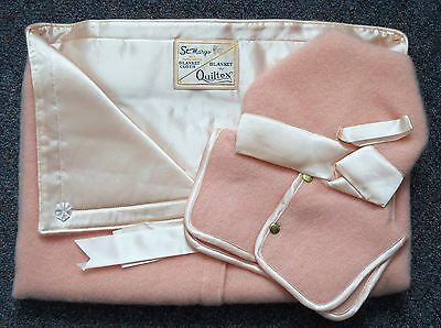 Vintage St. Mary's Pure Wool PINK BABY BUNTING w HAT/ HOOD ~ Zipper/Satin ~MIP~