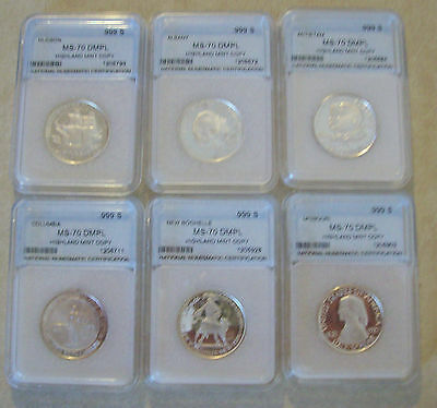 Set of 6 Highland Mint Silver Commerative Half Dollars - Copies