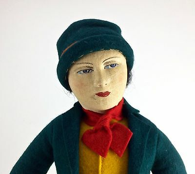 "15"" Soviet Union Russian Cloth Stockinette Doll Extremely Rare Felt Costume"