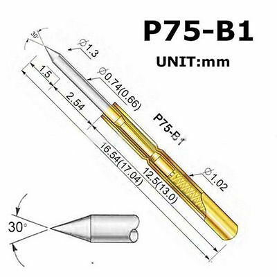 50pcs P75-B1 Dia 1.02mm 100g Cusp Spear Spring Loaded Test Probes Pogo Pins