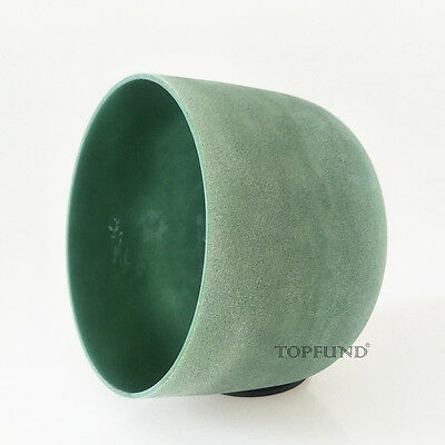 Gemstone Emerald Fusion F Heart Chakra Frosted Crystal Singing Bowl 8""