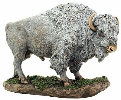 "10.5"" Inch White Buffalo Wild Life Animal Statue American Native Bison Indian"