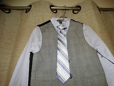 NWOT new GEORGE Boys sz 5 4 piece suit tie shirt vest pants pale purple black