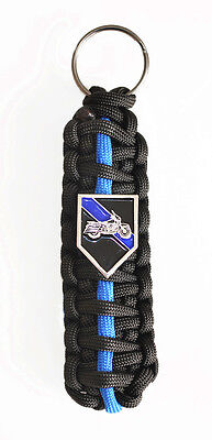 Thin Blue Line Police Motorcycle Patrol *LE* Paracord *King Cobra* Key chain