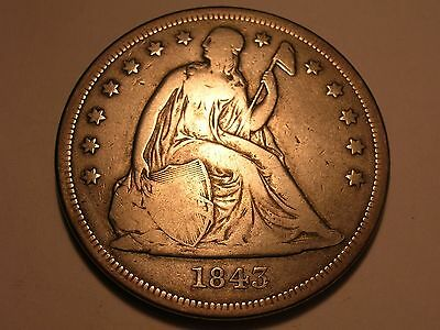 1843 Seated Liberty Dollar (Nice Surfaces & Attractive)