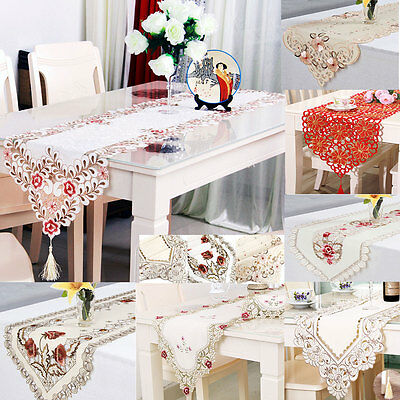 Vintage Flower Embroidery Table Runner Mat Tablecloth Tassel Wedding Party Decor