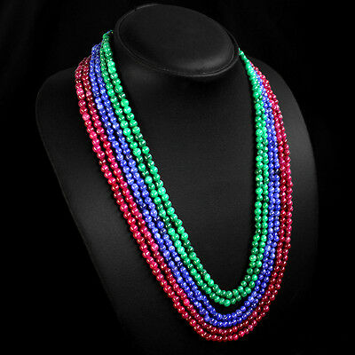 Genuine Tremendous 450.00 Cts Earth Mined Ruby, Emerald & Sapphire Bead Necklace
