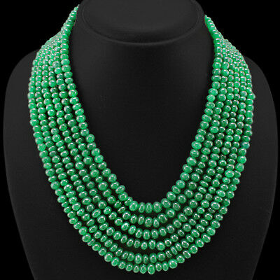Best Quality Ever 624.00 Cts Earth Mined 6 Strand Green Emerald Beads Necklace