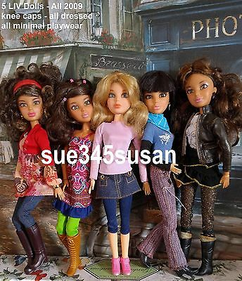 Spin Master Liv Doll Lot - 5 Dolls - Jointed - Dressed - Wigs - knee caps 2009